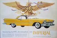 1957 Chrysler Imperial Crown Southampton Car Art Yellow 1950s Car Print Ad