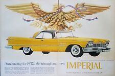 1957 Chrysler Imperial Crown Southampton Car Art Yellow 1950s Car Print Ad