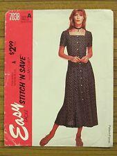 McCALL'S PATTERN - 7038 LADIES DRESS SQUARE NECK BUTTONED SIZE 8 10 12 14 UNCUT