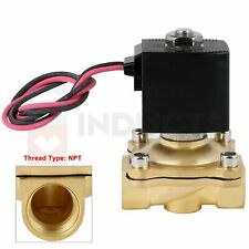 12v12 Npt Brass Electric Solenoid Valve Control Flow Normally Closed Nbr