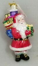 "Santa Claus Christmas Gift Sack Ornament 5"" Glass Vintage Inspired Noble Gems"