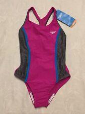NWT Girls SPEEDO Size 10 Fuchsia Pink & Gray 1-Piece Sport Swimsuit Bathing SUIT