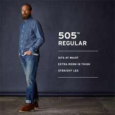 Levi's 505 Regular Straight Jeans Casual Denim Pants NEW