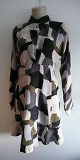 NWT PAUL & JOE 100% SILK abstract print dress fr38