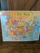 Vintage 1983 United States USA Map Frame Tray Puzzle