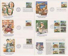 US 1989 FDC 6 Fleetwood Covers Classic Mail Transportation + Souvenir Sheet |