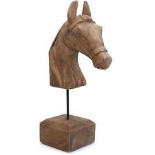 Holz Skulptur PFERD | Dekofigur Naturholz Massiv Deko Objekt braun natur | 48 cm