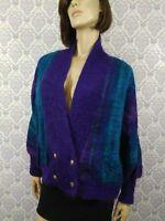 VTG 80s Dolman Sleeve Sweater Sz M/L Cardigan Fuzzy Oversize Mohair Wool Blend