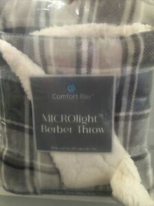 NEW Comfort Bay Microlight Berber Throw 50x60 white & gray Plaid Née Sherpa Warm