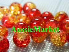 50 x Glass beads crackled crackle red yellow round necklace bracelet 8mm beading