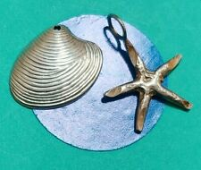 O24 Shell And Star Fish Sterling Silver Vintage Bracelet Charm