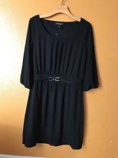 White House Black Market Black Solid Scoop Neck 3/4 Sleeve Mini Dress Size M