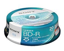 20 Sony Bluray DVD HD BD-R 25GB 4x Speed Factory Sealed Printable Bluray Discs
