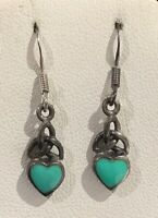 Vtg Sterling Silver 925 Turquoise Inlay Heart Celtic Knot Drop Dangle Earrings