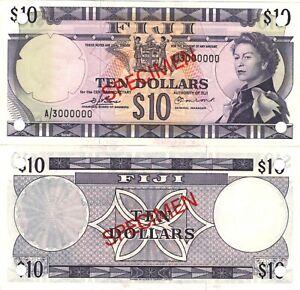 Fiji 10 dollars 1974 P-74s6 QE II sign. Barnes Earland UNC SPECIMEN