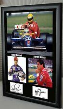 """Nigel MANSELL & Ayrton Senna Incorniciato TELA OMAGGIO STAMPA FIRMATA """"GRANDE REGALO"""""""