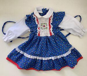 VTG Polly Flinders Blue & White Hand Smocked Floral Print Cottage Core Dress T2