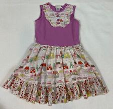 Swanky Baby Vintage Dress 4 Purple White Red House Print Sleeveless Cotton