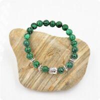 geschenk malachit - armband yoga - armband naturstein perlen splitter buddha