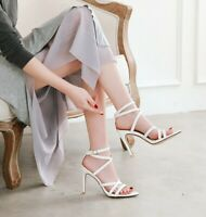 Women Open Toe Ankle Strappy High Heels Stiletto Sexy Sandals Evening Sexy Shoes