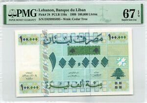 Lebanon 100000 Livres 1999 P-78 PMG 67 EPQ