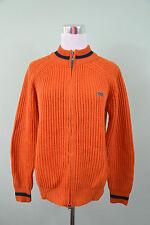 JOHN ROOSE Mens Vtg Retro Style Orange Hippy Ribbed Knit Zip Cardigan sz S H60