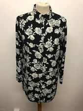 New Look Black & Grey Oversized Floral Long Shirt Size 10