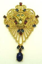 Very Rare JOMAZ Mogul Jewels of India Large Lion Head Brooch/Pendant