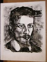 Dessin  Encre Illustration Fernando PUIG ROSADO (1931-2016) Autoportrait? DIV3
