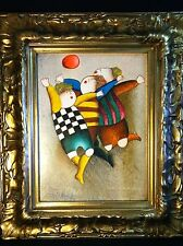 Framed Oil on Canvas Painting Children Playing Ball by J. Roybal