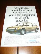 1984 HONDA CIVIC  ***ORIGINAL AD***