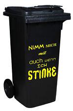 AUFKLEBER ++ Nimm mich mit auch wenn ich stinke ++ GELB ++ Sticker ++ Mülltonne