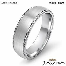 Men Wedding Comfort Fit Band Dome Milgrain Ring 6mm Platinum 13.9g Size 12-12.75