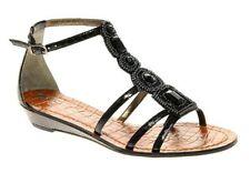 Ladies UK 8 SAM EDELMAN Black Daley Beaded/Sequin Sandals (New) RRP £106.00