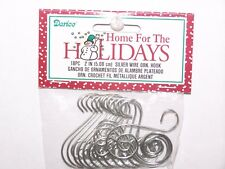 """18 Fancy Scroll Ornament Hooks Silver Color Wire 2"""" Christmas Craft Decor"""