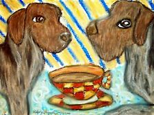 Wirehaired Pointing Griffon Drinking Coffee Dog Collectible Pop Art Print 8x10
