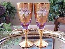 Italian Venetian Original Barbini Murano Handmade 24K Gold & Lilac Flute Glasses