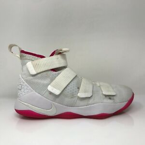 Nike Mens Lebron Soldier 11 897644-102 White Basketball Shoes Mid Top Size 8