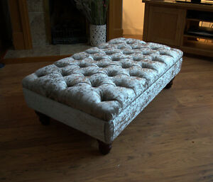 Chesterfield  Deep Button Large Footstool in Silver Crushed Velvet Fabric
