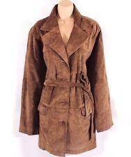 Vintage Brown 100% Real Suede IMPULS Belt Ladies Women's Jacket Coat Size UK 16