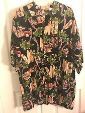 Mickey Mouse Disney Catalog Surfboards Woodys 100% Rayon Hawaiian Shirt Men's L