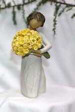 ANGEL statue WILLOW TREE bouquet YELLOW flower GOOD CHEER sunflower Birthday NEW