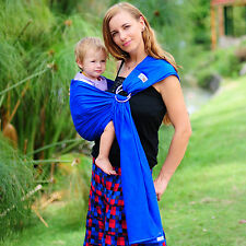 RRP$59 New Baby Child Sling Ring Carrier Wrap Pouch WALKABOUT Cotton Blue