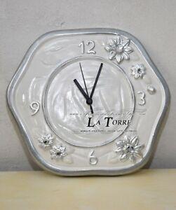 Orologio da parete decorato in ceramica linea girasole bianco e argento PR48