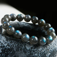 Natural Labradorite Blue Light Gemstone Woman Man Round Beads Bracelet 13mm AAA