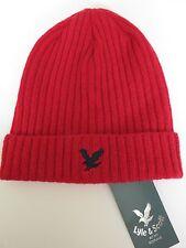 Lyle & Scott red beanie hat navy blue eagle NEW wool woollen mens ladies winter