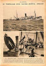 "Torpille Navire-Hôpital ""Gloucester Castle"" Royal Navy  WWI 1917 ILLUSTRATION"