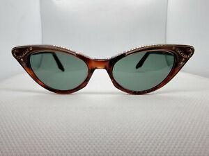 WARD SECRET Tortoise Pearl Rhinestone Green Lens Vintage Cat Eye Sunglasses