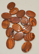 Beads Capiz Dyed Orange Zebra Shell Oval Beads Necklaces Shell Beads 25mm