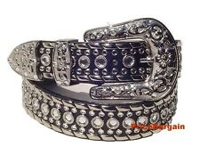 US Seller NEW BLACK WESTERN CRYSTAL RHINESTONE SNAP ON BUCKLE LEATHER BELT M SM